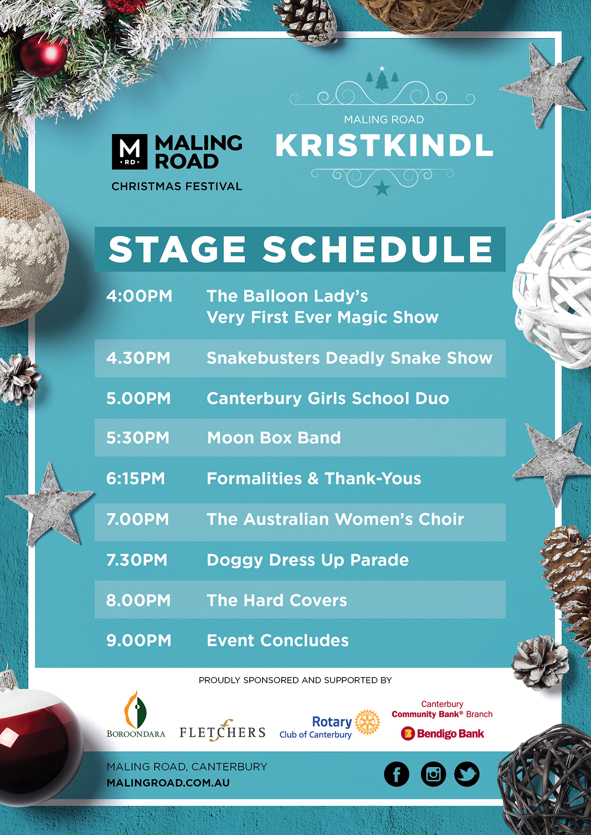 Maling Road Christmas Festival Kristkindl Stage Schedule